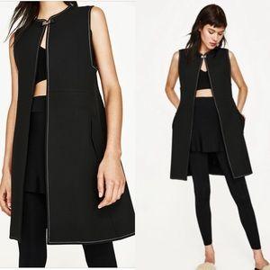 ZARA 🌟 NWT Long Vest Buckle Black Waist Coat XS-S